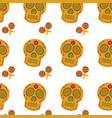mexican skull and maracas folk culture seamless vector image vector image