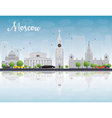 Moscow skyline with grey landmarks vector image vector image