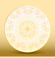 old-fashioned white plate with a gold vintage vector image vector image
