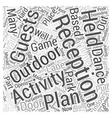 Outdoor wedding reception activities Word Cloud vector image