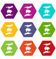 piggy bank and hands icon set color hexahedron vector image vector image