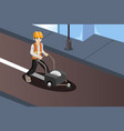 road worker painting the road lines vector image vector image