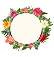 round frame with different types of flowers vector image vector image