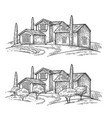 rural landscape with villa or farm with field vector image vector image