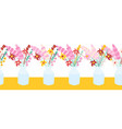 seamless border flowers in vase repeating vector image