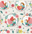 seamless pattern with birds in floral frames vector image vector image