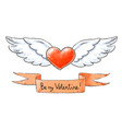 set of love elements for valentines day winged vector image