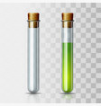 set scientific or medical glassware with cork vector image vector image
