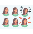 set woman s emotions facial expression girl vector image vector image
