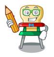 student cartoon baby highchair for kids feeding vector image