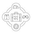 tourists suitcase contents linear icons set vector image