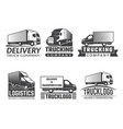 transportation logo silhouette of truck various vector image vector image
