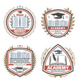 vintage colored education emblems set vector image vector image