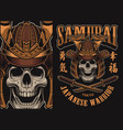 with a samurai skull vector image
