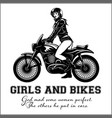 woman and sport motorbike - monochrome vector image