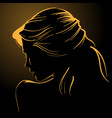 woman face silhouette in backlight low key vector image vector image