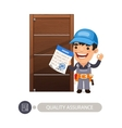 Worker and Door Quality Assurance vector image vector image