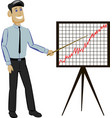businessman holding a presentation points to a vector image