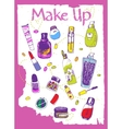 Set of colorful cosmetic doodles vector image