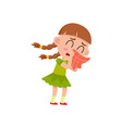 flat girl kid blows her nose crying vector image