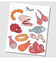 meat doodles lined paper colored vector image
