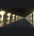 3d abstract dark underground road long tunnel vector image