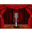 a microphone on a stage with a spotlight on it vector image vector image