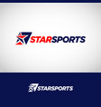 abstract blue red sport star logo symbol vector image vector image