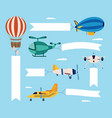 airplane and plane a helicopter and a quadcopter vector image vector image