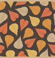 autumn seamless pattern with colorful birch leaves vector image