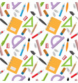 back to school pattern with stationery vector image vector image