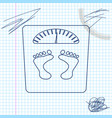 bathroom scales with footprints line sketch icon vector image vector image