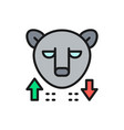 bear stock market finance trade flat color line vector image