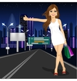 beautiful girl voting on night city road vector image vector image