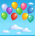 blue sky with inflatable balloons 1 vector image vector image