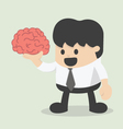 businessman hold brain vector image vector image