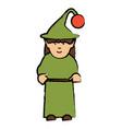 cartoon elf girl icon vector image vector image