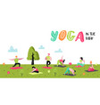 cartoon people practicing yoga stretching vector image vector image