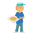 cartoon pizza delivery guy vector image