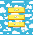 cartoon style buttons clouds in sky vector image