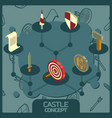 castle color concept isometric icons vector image vector image