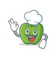 chef green apple character cartoon vector image