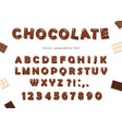 Chocolate font design sweet glossy abc letters vector image