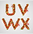 christmas font four letters uvwx of christmas vector image