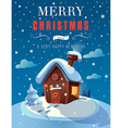 christmas greeting card with a small cottage in vector image
