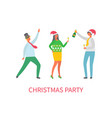 christmas party of people friends dancing together vector image