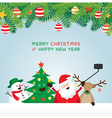 Christmas Santa Claus and Friends Selfie vector image vector image