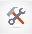 Colored wrench and hammer trendy symbol