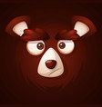 cute funny crazy -cartoon face bear vector image