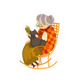 cute granny sitting in a cozy rocking chair and vector image